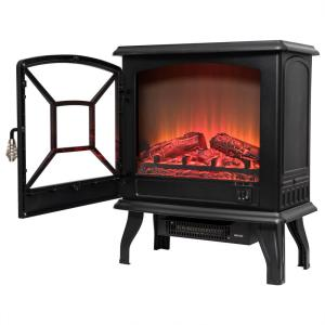 AKDY 20 inch Freestanding Electric Fireplace Heater in Black with Tempered Glass by AKDY