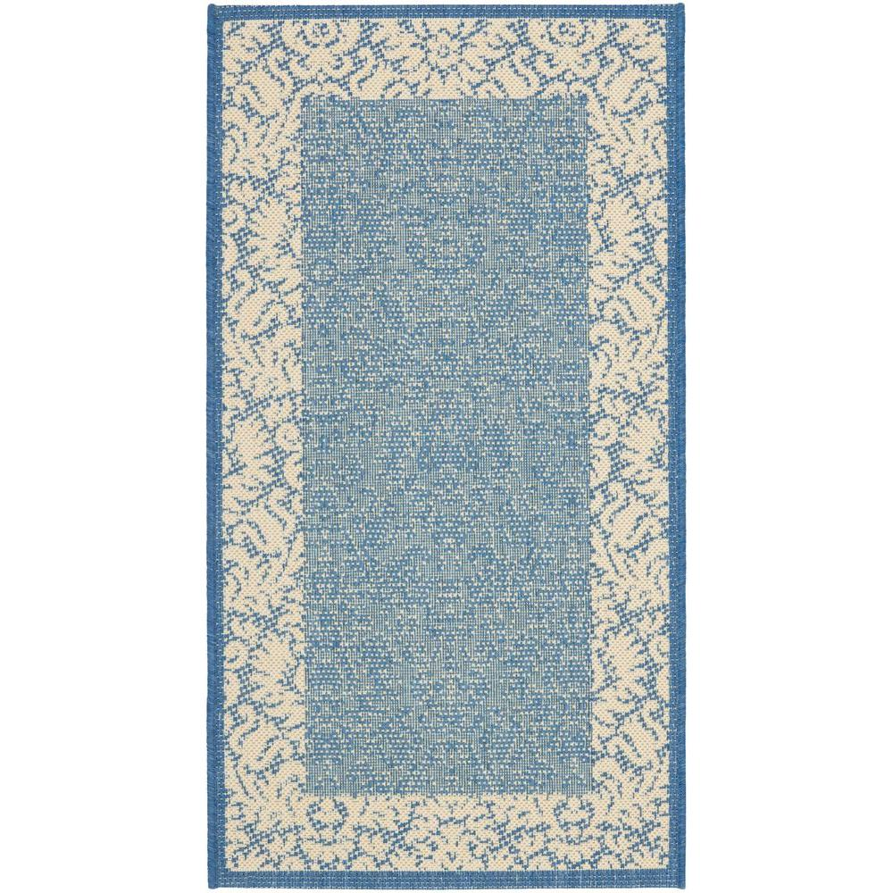 Courtyard Blue/Natural 2 ft. x 3 ft. 7 in. Indoor/Outdoor Area