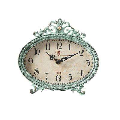 Lily 6.25 in. H x 6.5 in. W Aqua Table Clock