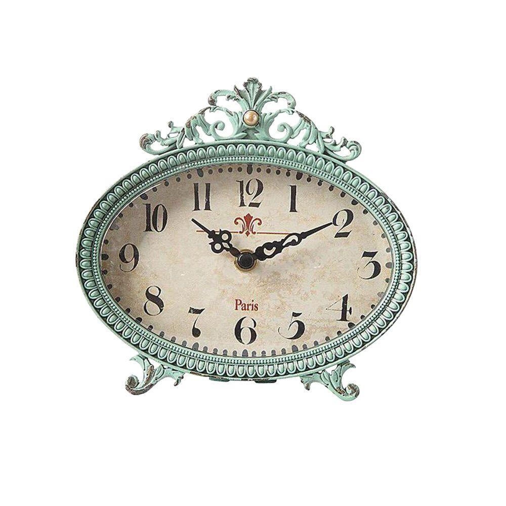 Home Decorators Collection Lily 6.25 in. H x 6.5 in. W Aqua Table Clock