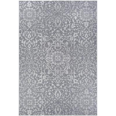 Monte Carlo Palmette Grey-Ivory 7 ft. 6 in. x 10 ft. 9 in. Indoor/Outdoor Area Rug
