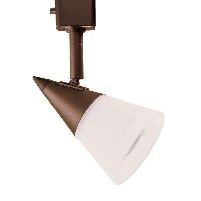 Series 2 Line-Voltage GU-10 Oil-Rubbed Bronze Track Lighting Fixture with White Cone Glass Shade
