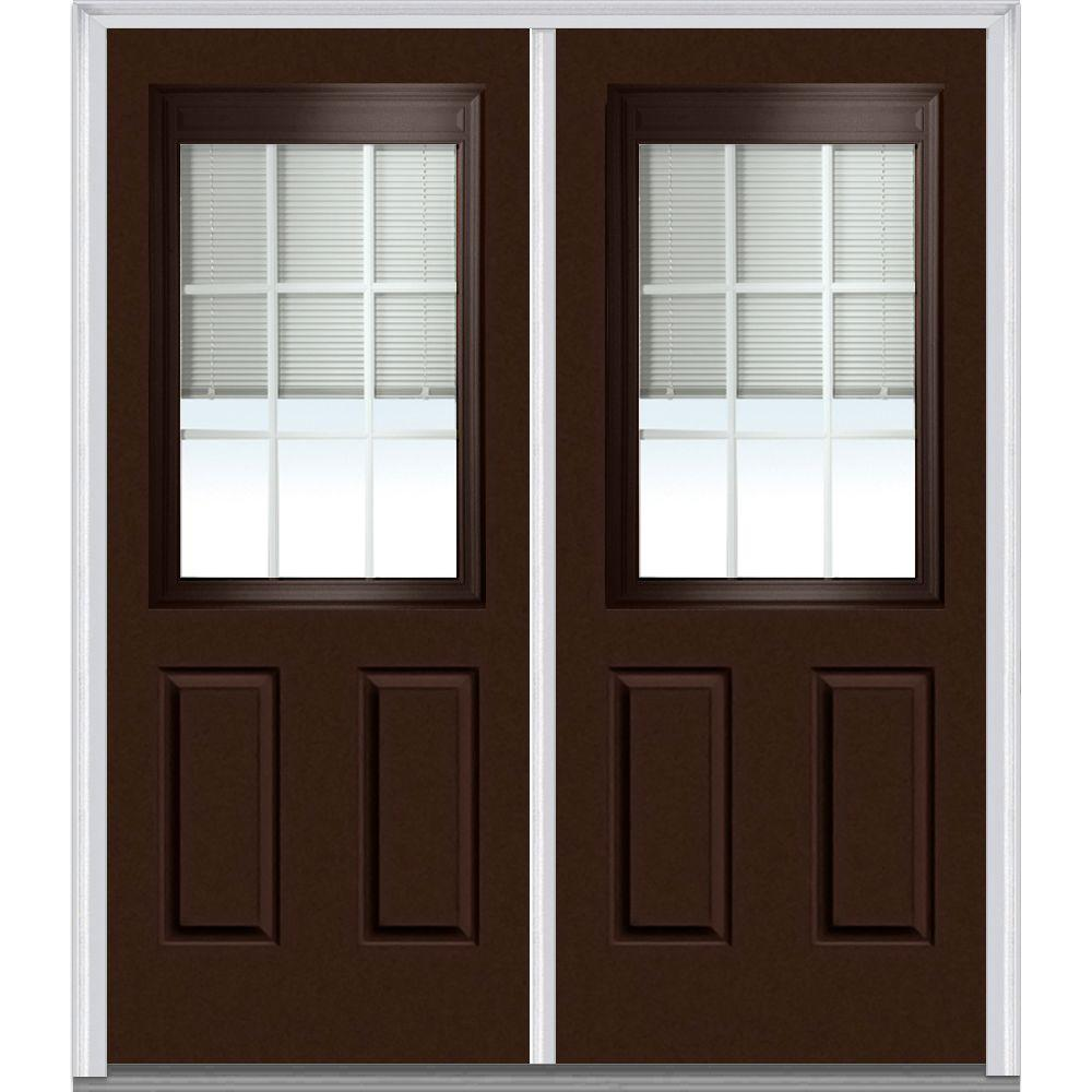 Mmi door 64 in x 80 in internal blinds and grilles right for 15 lite exterior door with blinds
