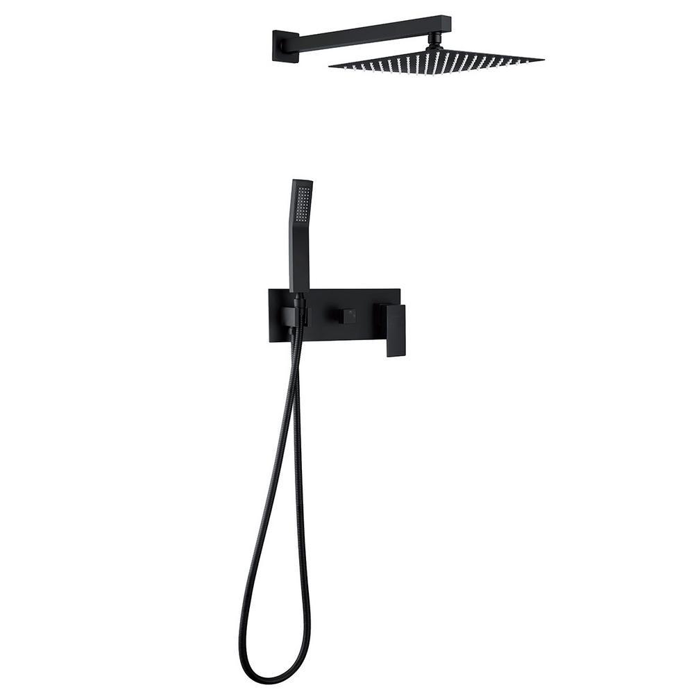 1-spray 10 in. High PressureDual Shower Head and Handheld Shower Head in Matte Black