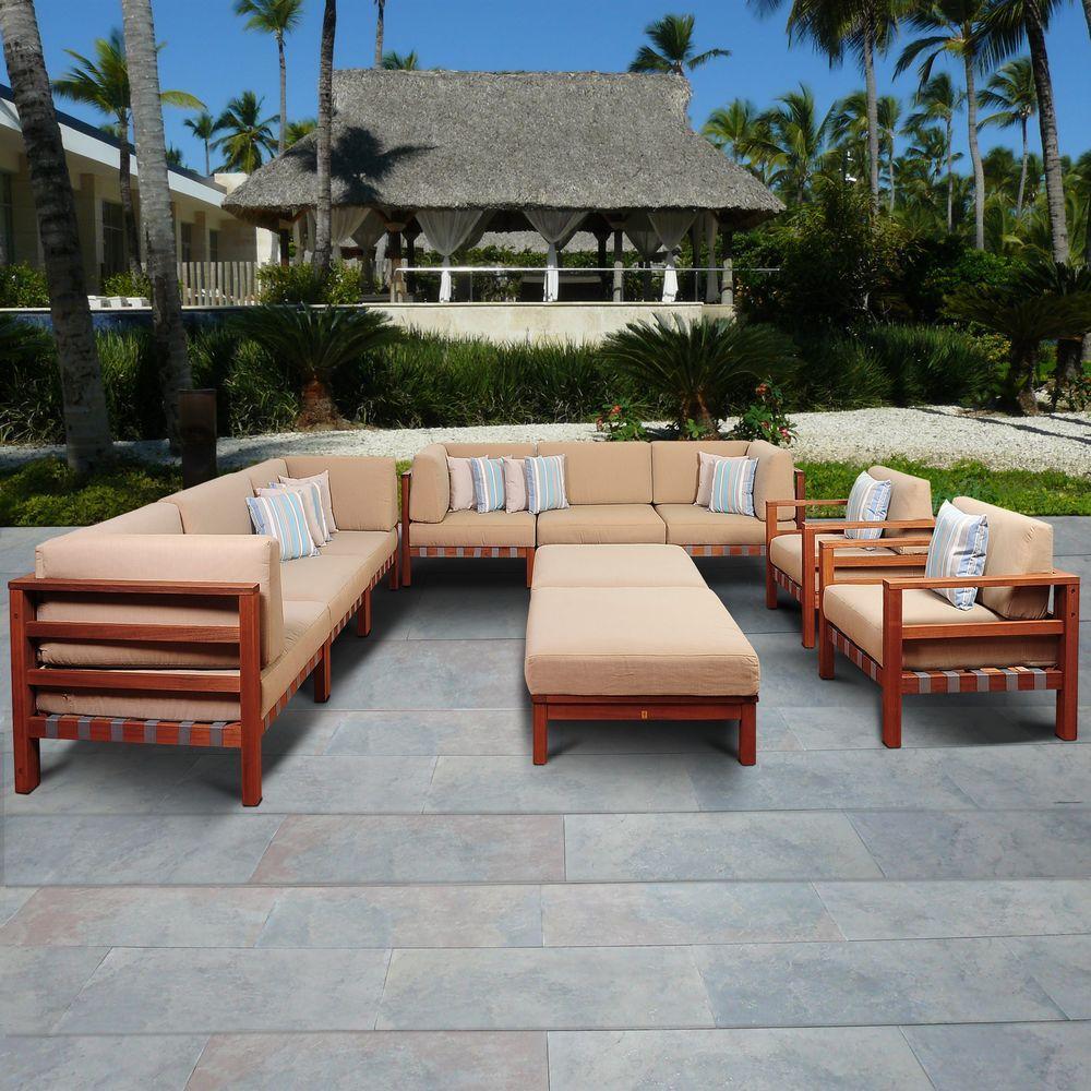Ia Maya 10 Piece Eucalyptus Patio Sectional Set With Khaki Cushions By Jamie Durie