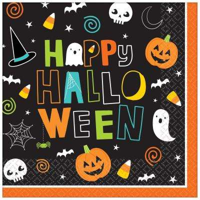 6.5 in. x 6.5 in. Paper Halloween Friends Lunch Napkins