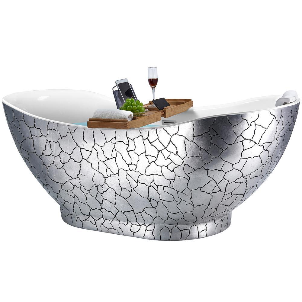 Freestanding 67 in. Acrylic Flatbottom Bathtub Modern Stand Alone Tub Luxurious SPA Tub in Gloss Silver