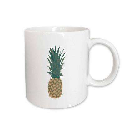 CherylsArt Fruit Food Art Painting of a whole ripe pineapple with leaves 11 oz. White Ceramic Coffee Mug