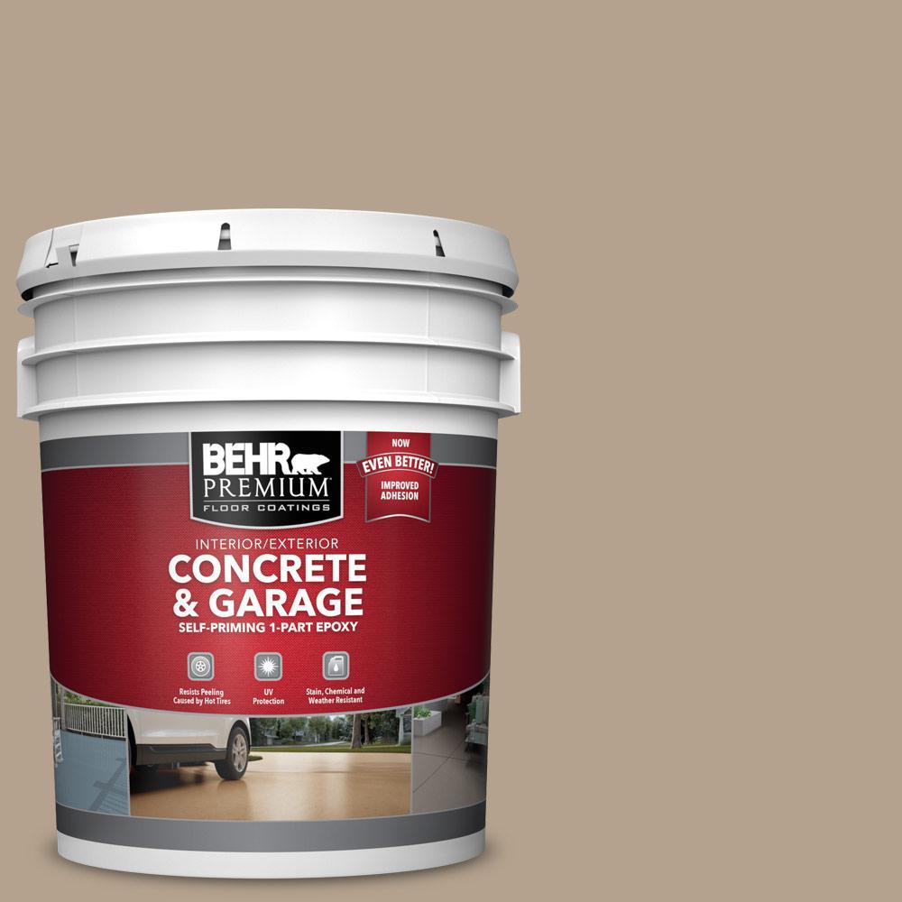 BEHR PREMIUM 5 gal. #PFC-33 Washed Khaki Self-Priming 1-Part Epoxy Satin Interior/Exterior Concrete and Garage Floor Paint