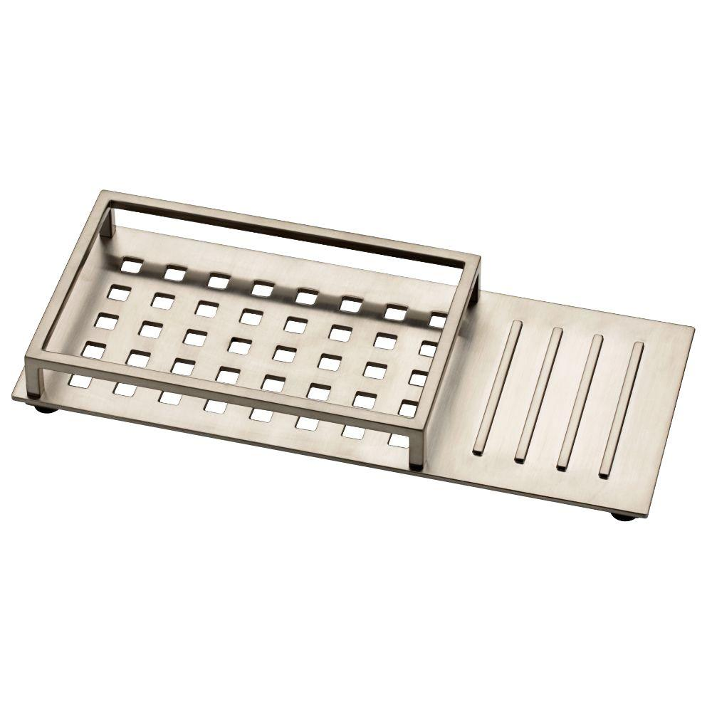 Vero 12 in. Vanity Tray with Rubber Feet in Brilliance Stainless