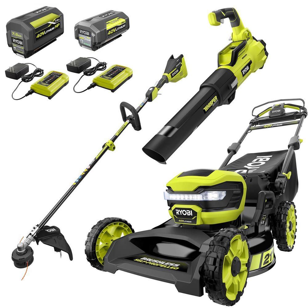 RYOBI 21 in. 40-Volt Brushless Walk Behind Self-Propelled Mower, String Trimmer, Leaf Blower w/ 7.5 Ah, 4.0 Ah Battery/Charger
