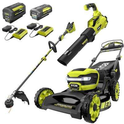 21 in. 40-Volt Brushless Walk Behind Self-Propelled Mower/String Trimmer/Leaf Blower w/ 7.5 Ah & 4.0 Ah Battery/Charger
