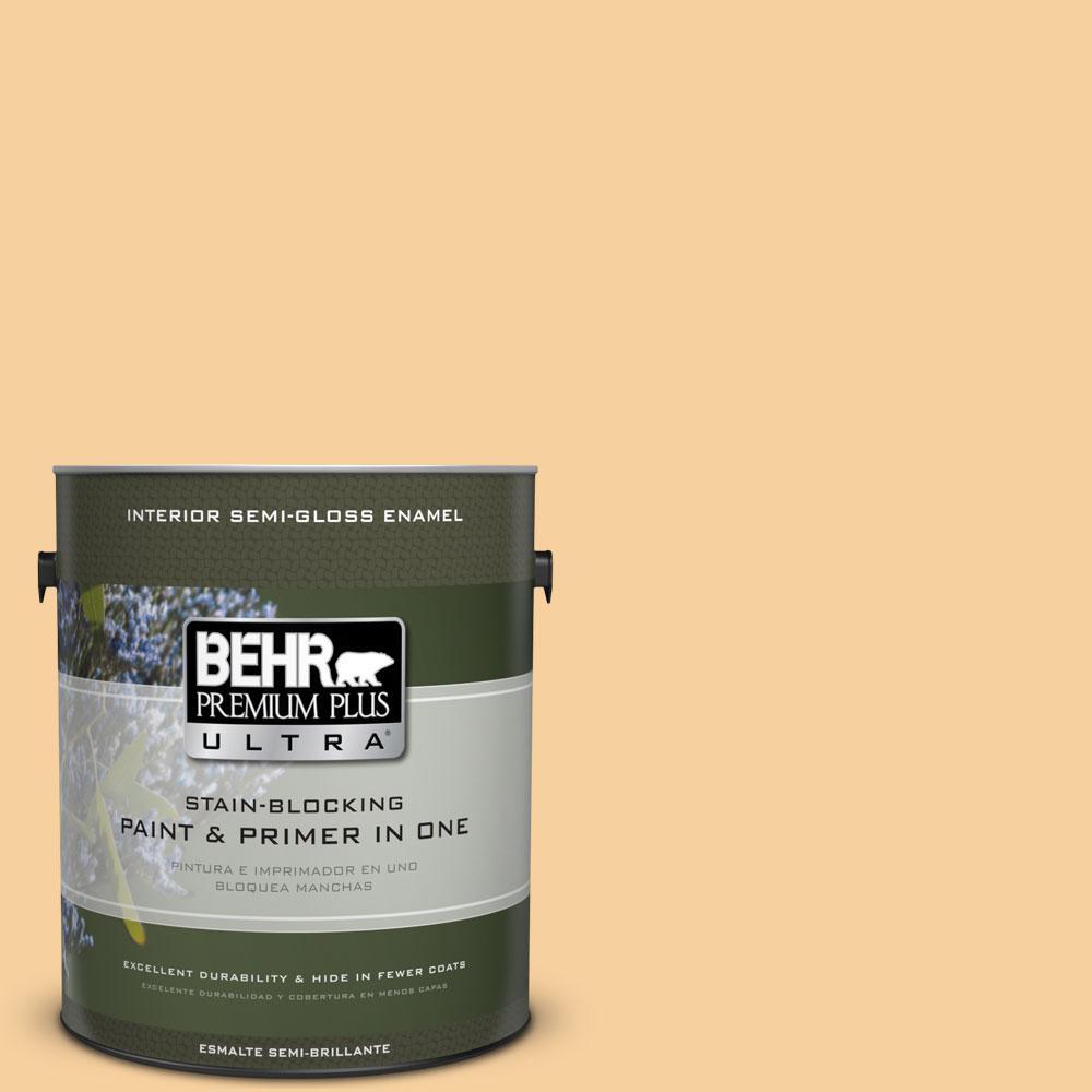1-gal. #320C-3 Honey Butter Semi-Gloss Enamel Interior Paint