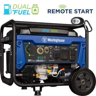 3,600-Watt Dual Fuel RV-Ready Remote Start Portable Generator (Gasoline or Propane)