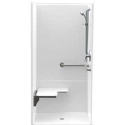 Accessible AcrylX 36 in. x 36 in. x 75 in. 2-Piece ADA Shower Stall with Left Seat & Center Drain in White