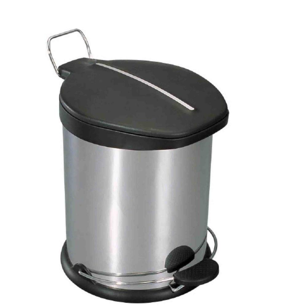 1.32 Gal. Stainless Steel Trash Can with Black Plastic Lid
