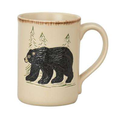 Rustic Retreat 12 oz. Tan Ceramic Bear Coffee Mug (Set of 4)