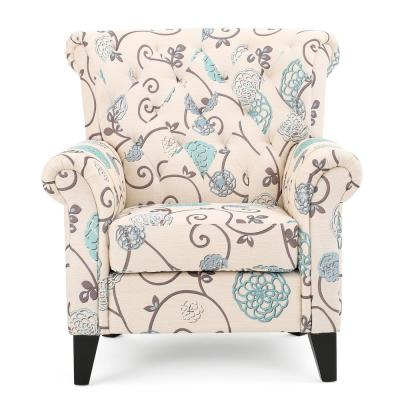 Greggory Tufted Multi-Colored Floral Fabric Club Chair