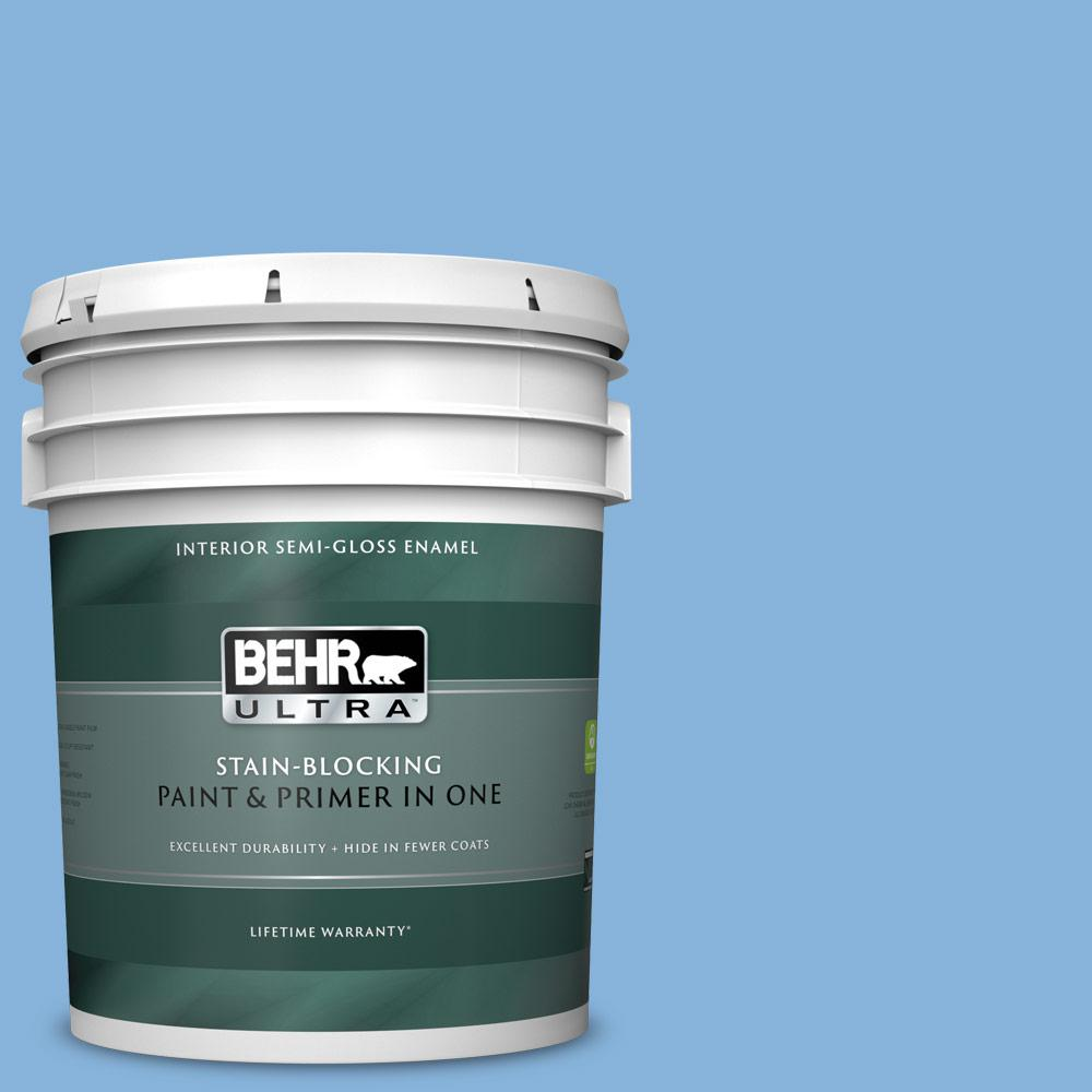 Behr Ultra 5 Gal 570b 4 Bayou Semi Gloss Enamel Interior Paint And Primer In One 375405 The Home Depot