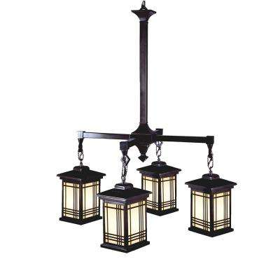 Avery 4-Light Antique Bronze Chandelier with Hand Painted Art Glass Shades