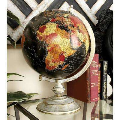Nautical Decorative globe with Whitewashed Tiered Base