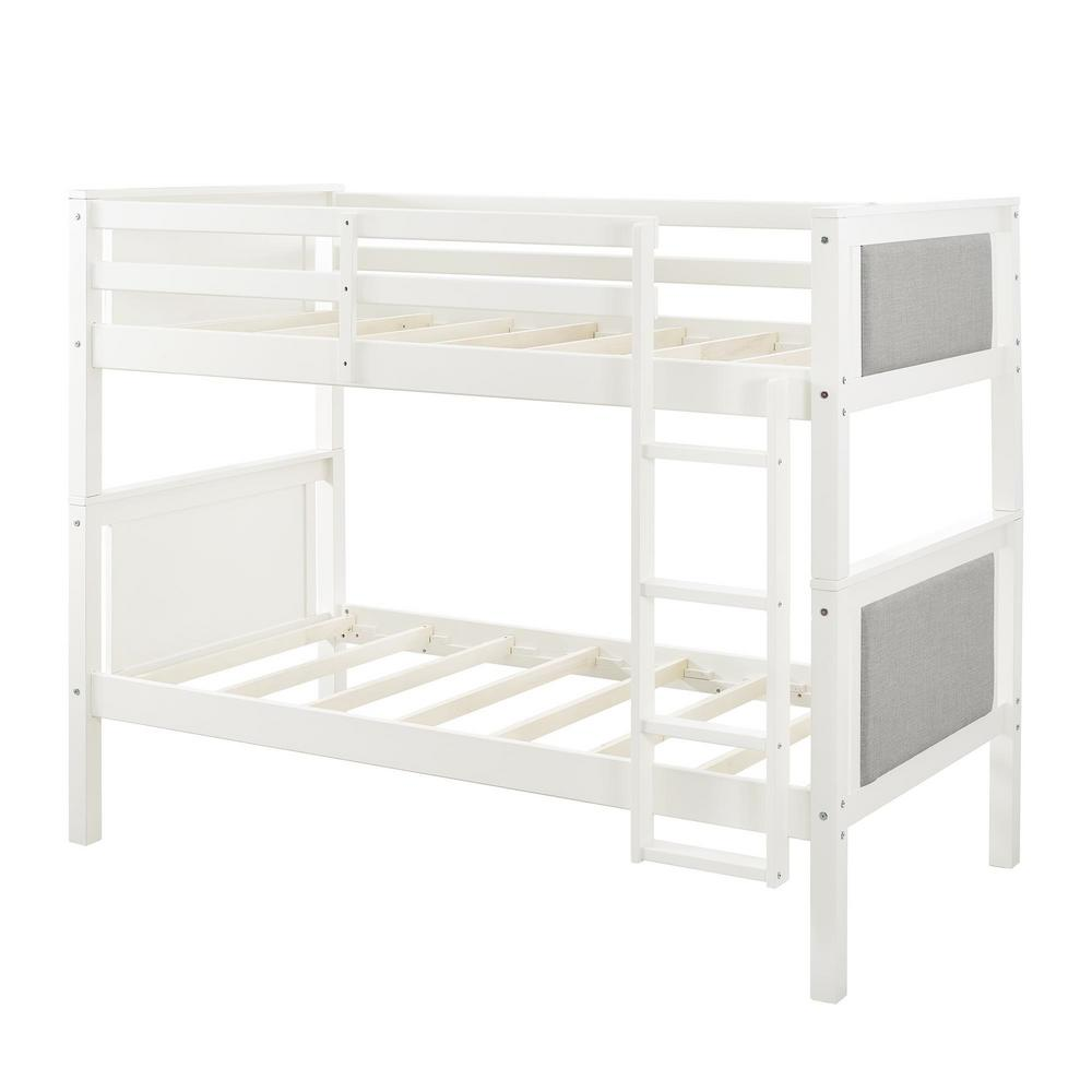 Dorel Gray Twin Over Twin Upholstered Bunk Bed Gray White Alexa
