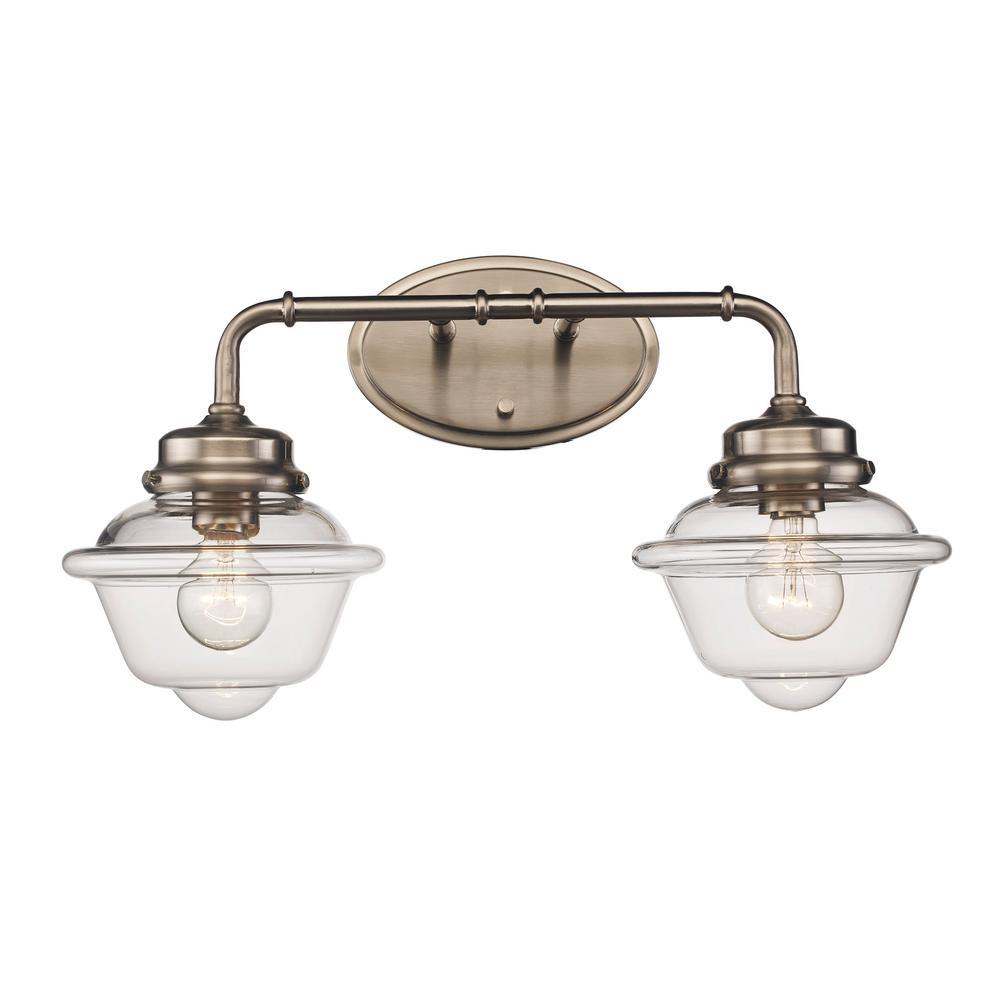 8 in. 2-Light Brushed Nickel Vanity Light