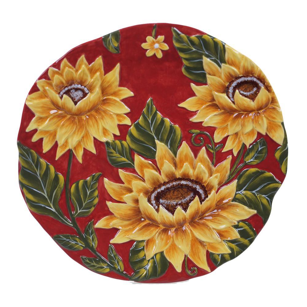 Sunset Sunflower Ceramic Round Platter