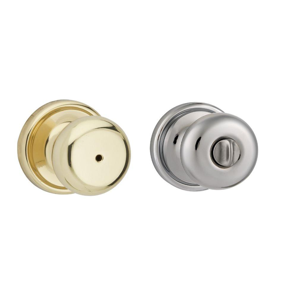 Kwikset Hancock Polished Brass/Polished Chrome Bed/Bath Knob