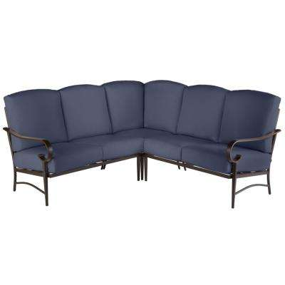 Oak Cliff 3-Piece Brown Steel Outdoor Patio Sectional Sofa with CushionGuard Midnight Navy Blue Cushions