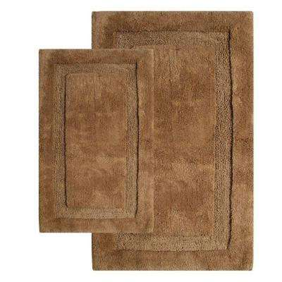 21 in. x 34 in. and 24 in. x 40 in. 2-Piece Olympia Bath Rug Set in Linen