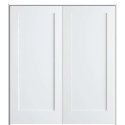 Shaker Flat Panel 48 in. x 80 in. Both Active Solid Core Primed Composite Double Prehung French Door w/ 4-9/16 in. Jamb