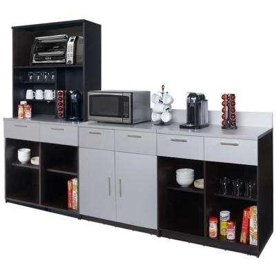 Coffee Kitchen Espresso / Silver Sideboard with Lunch Break Room Functionality with Assembled Commercial Grade 3394