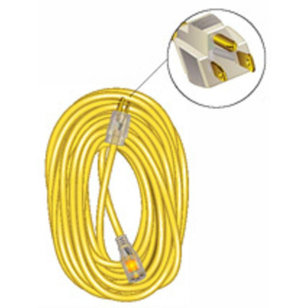 25 ft. 12/3 Outdoor Extension Cord SJTW Lighted - Yellow