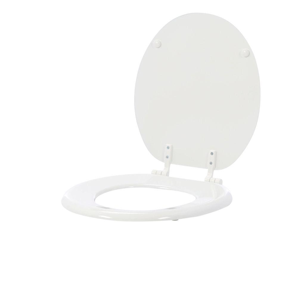 wooden white toilet seat. White Toilet Seat Round Bowl Replacement Closed Front Wood Gloss Finish  Bathroom