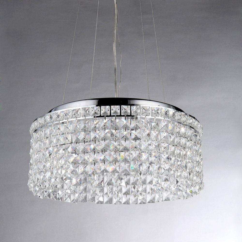 Melinda Crystal 4-Light Chrome Pendant
