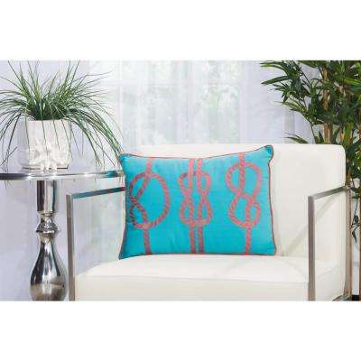 3 Knots 14 in. x 20 in. Turquoise and Coral Indoor and Outdoor Pillow