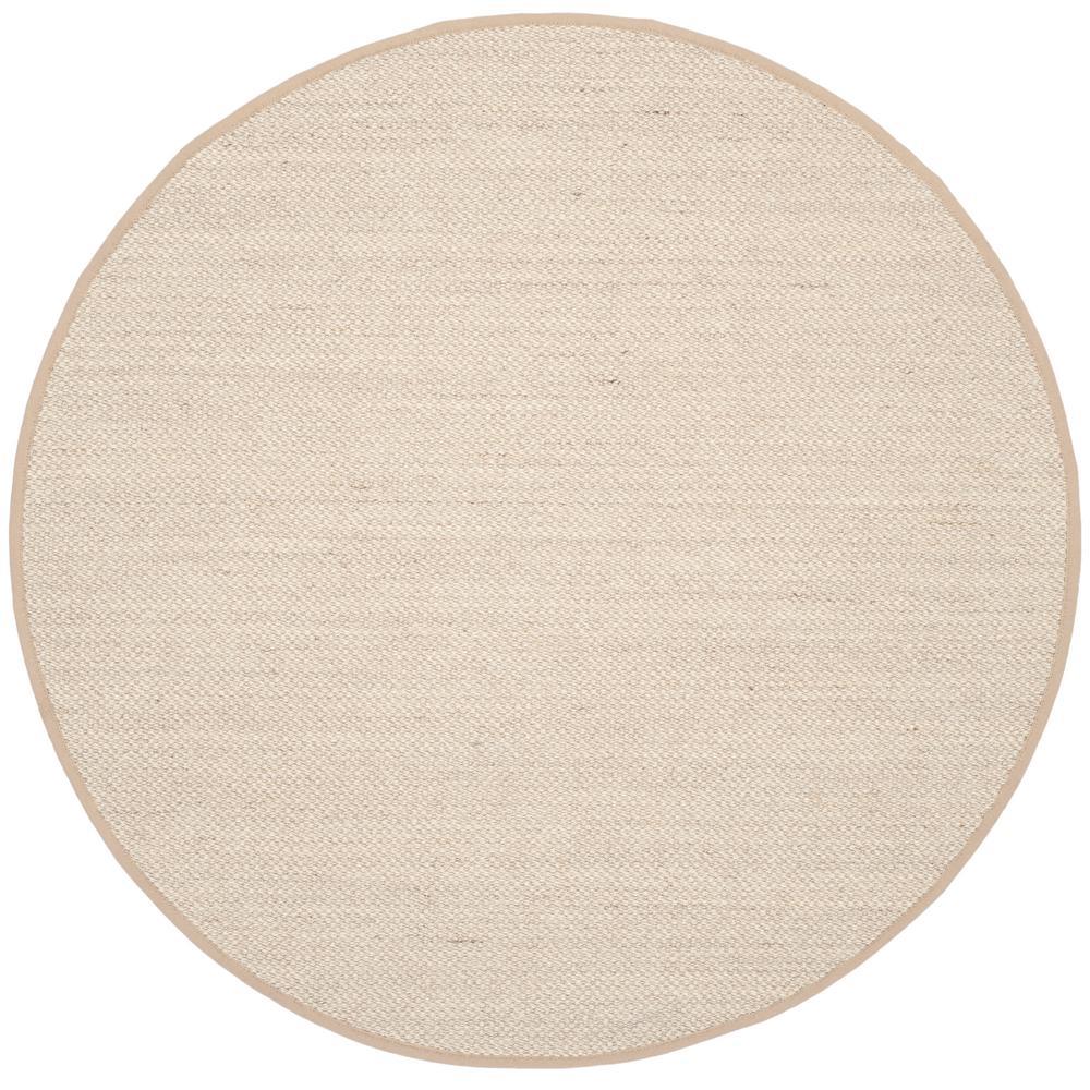 Natural Fiber Marble/Linen 6 ft. x 6 ft. Round Indoor Area Rug