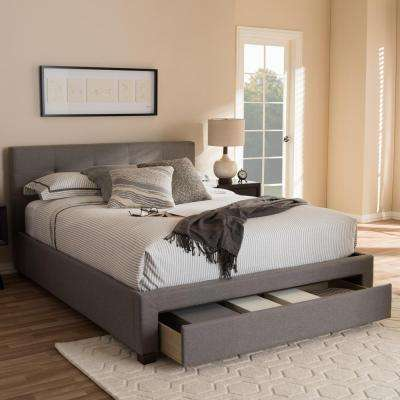 Brandy Contemporary Gray Fabric Upholstered King Size Bed with Storage
