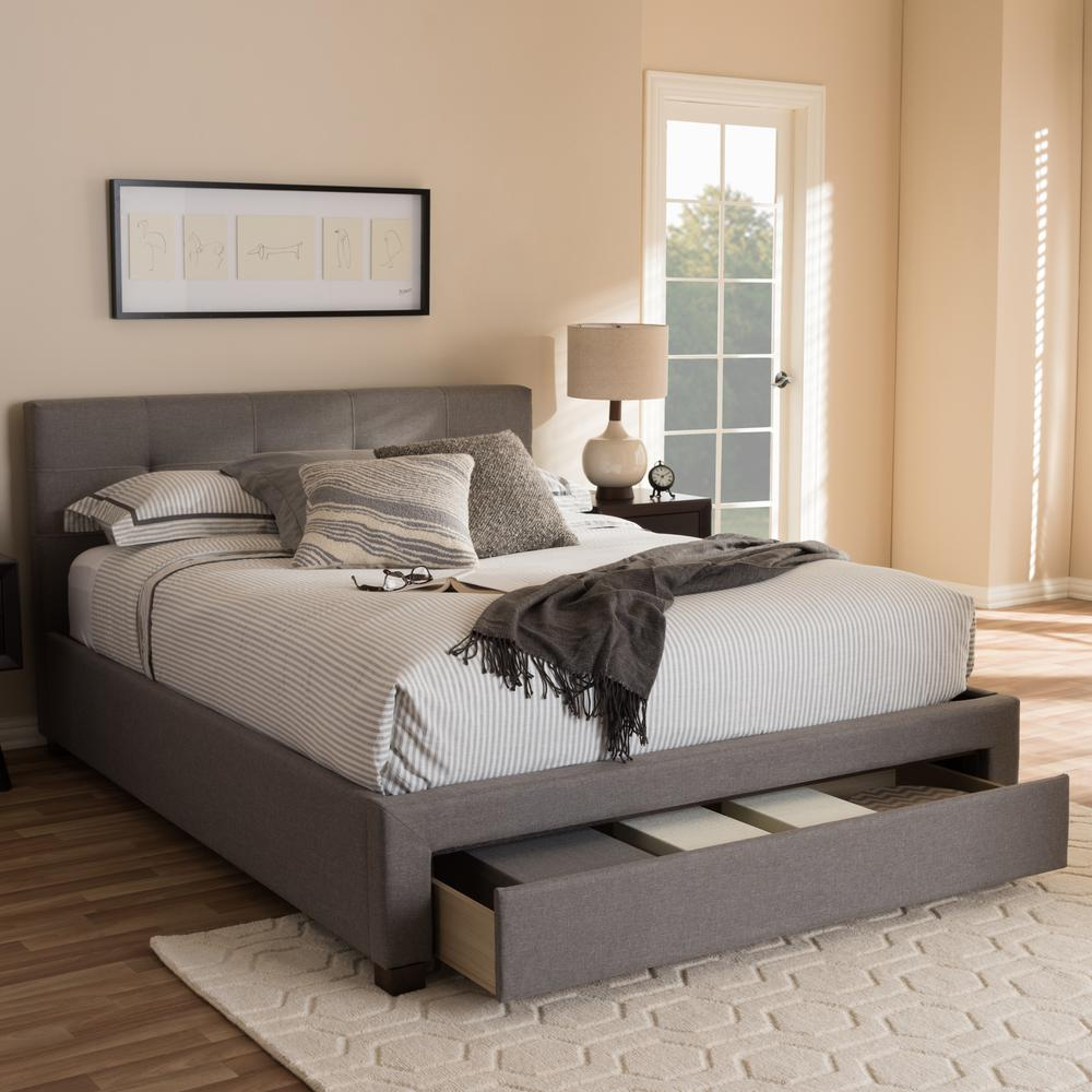 king size modern bed baxton studio contemporary gray fabric upholstered 15761