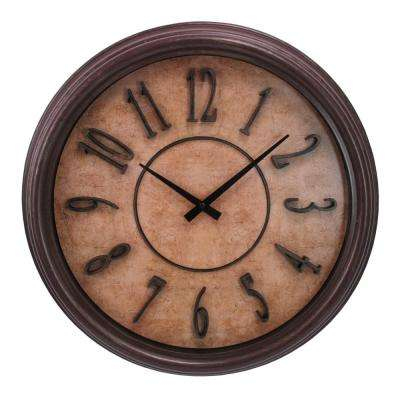 Glasgow 18 in. Wall Clock 2-1/2 in. D Brown Wood Grain with Raised Numbers and Distressed Face