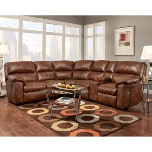 Cambridge Fork Valley Saddle Brown Home Theater Seating Sofa by Cambridge