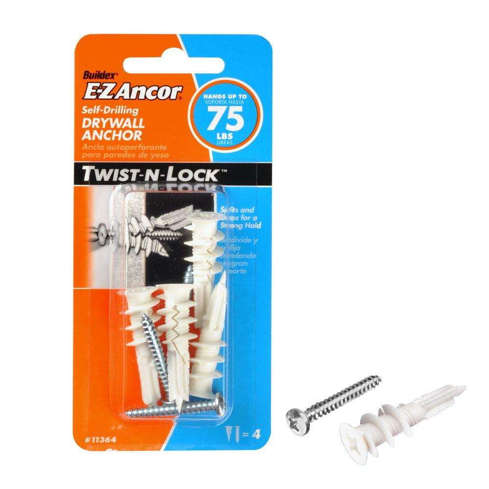 E-Z Ancor Twist-N-Lock 75 lb. #8 x 1-1/4 in. Philips Zinc-Plated Nylon Flat-Head Drywall Anchors with Screws (4-Pack)