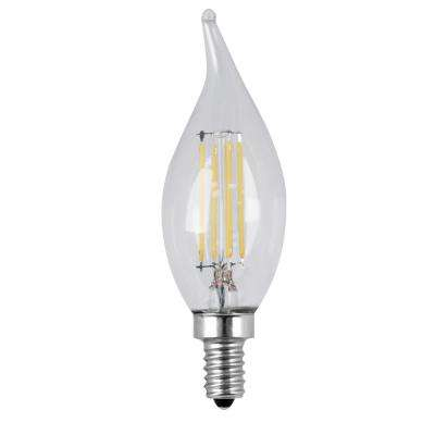 60W Equivalent Soft White (2700K) CA10 Dimmable Filament LED Candelabra Base Clear Light Bulb