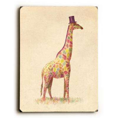 "9 in. x 12 in. ""Fashionable Giraffe"" by Terry Fan Solid Wood Wall Art"