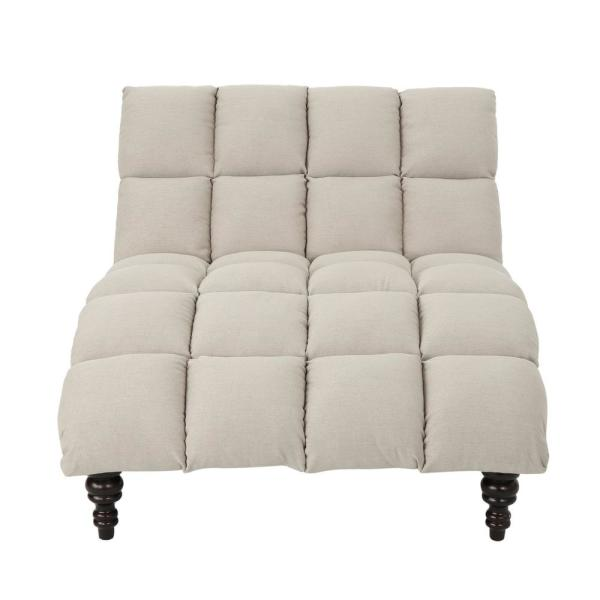 Le House Kaniel Traditional Tufted Wheat Fabric Double Chaise Lounge