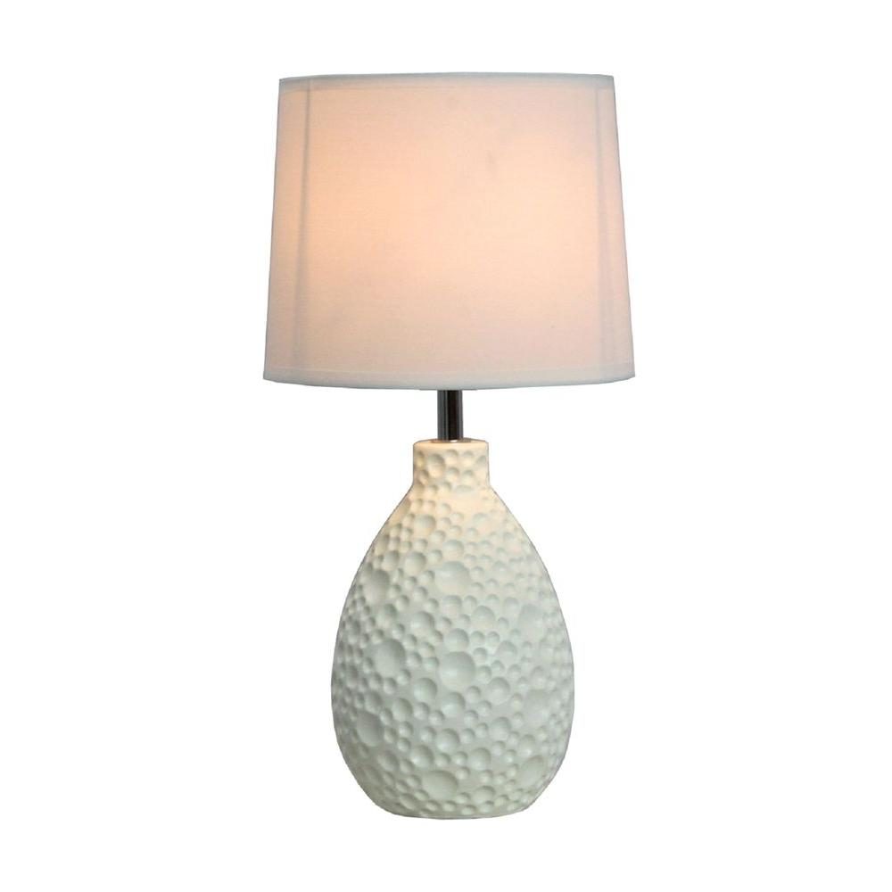 Simple Designs 14 in. White Textured Stucco Ceramic Oval Table Lamp