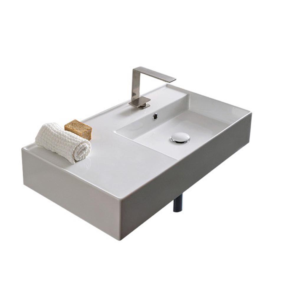 Nameeks Teorema Wall Mounted Bathroom Sink In White Scarabeo 5118