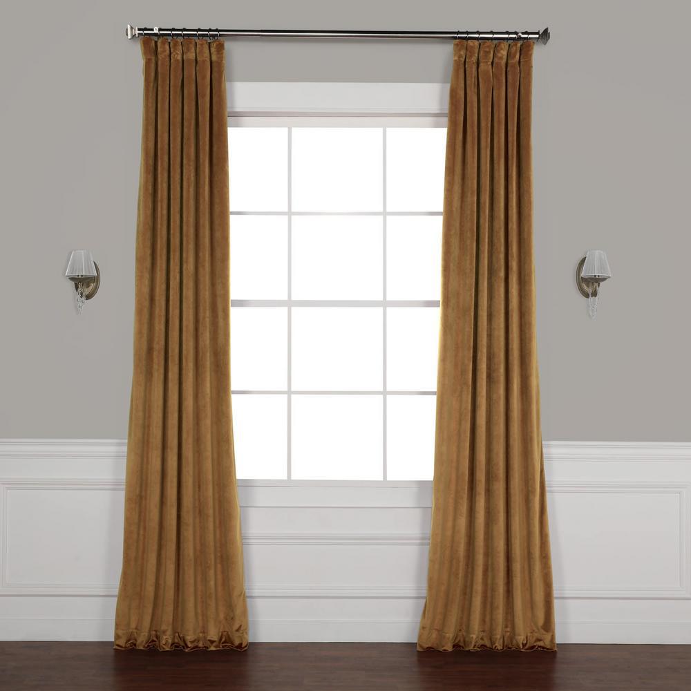 Spiced Rum Brown Plush Velvet Curtain - 50 in. W x 96 in. L