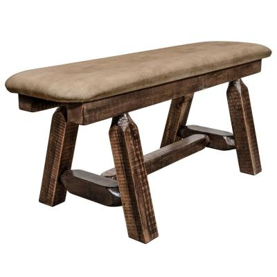 Homestead Collection 18 in. H Brown Wooden Bench with Buckskin Pattern Upholstered Seat, 45 in. Length